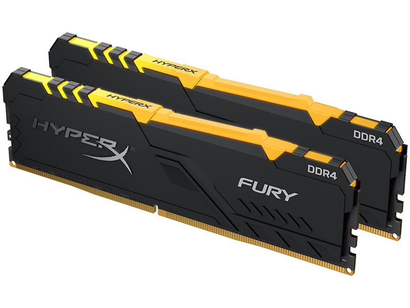 Модуль памяти Kingston HyperX Fury Black RGB DDR4 DIMM 2400MHz PC-19200 CL15 - 16Gb KIT (2x8Gb) HX424C15FB3AK2/16
