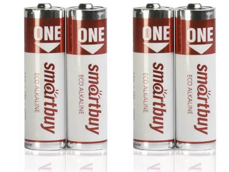 Фото - Батарейка AA - SmartBuy One LR6 SOBA-2A04B-Eco (4 штуки) батарейка aaa smartbuy one lr03 soba 3a40s eco 40 штук