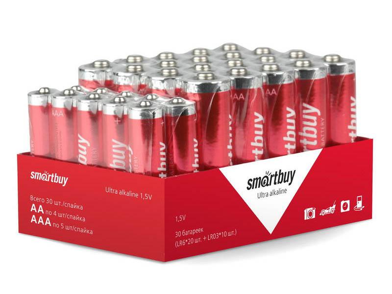 Батарейка AA + AAA - SmartBuy 20x LR6 10x LR03 SBBA-30BULK (30 штук)