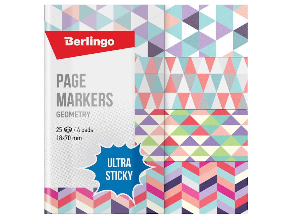Стикеры Berlingo Ultra Sticky Geometry 18x70mm 100 листов 4 цвета LSz_41131