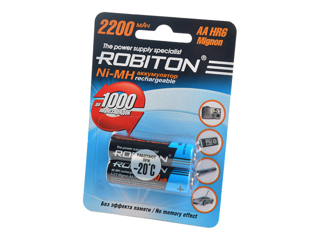 Аккумулятор AA - Robiton 2200MHAA-2 BL2 8791 (2 штуки)