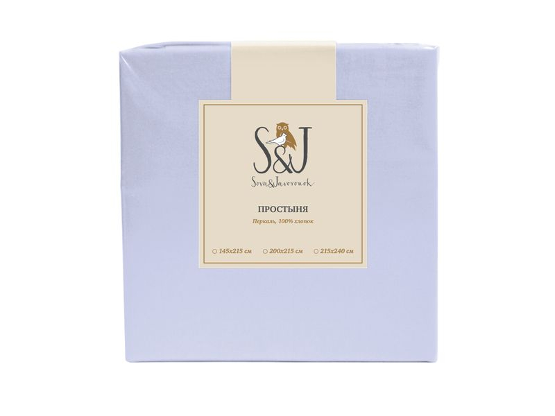 Простыня Sova&Javoronok 200x215 Перкаль Light Blue 28030117584