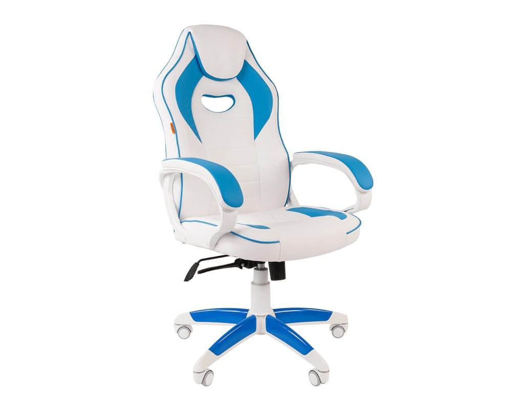 Компьютерное кресло Chairman GAME 16 игровое White-Blue