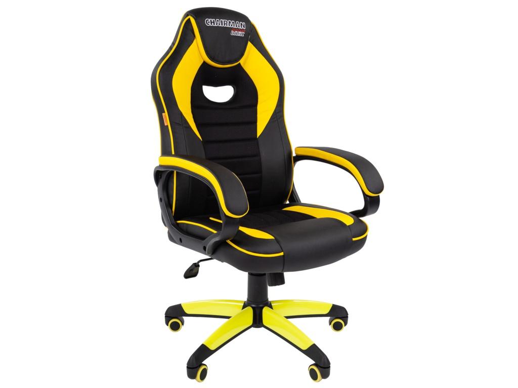 Компьютерное кресло Chairman GAME 16 игровое Black-Yellow