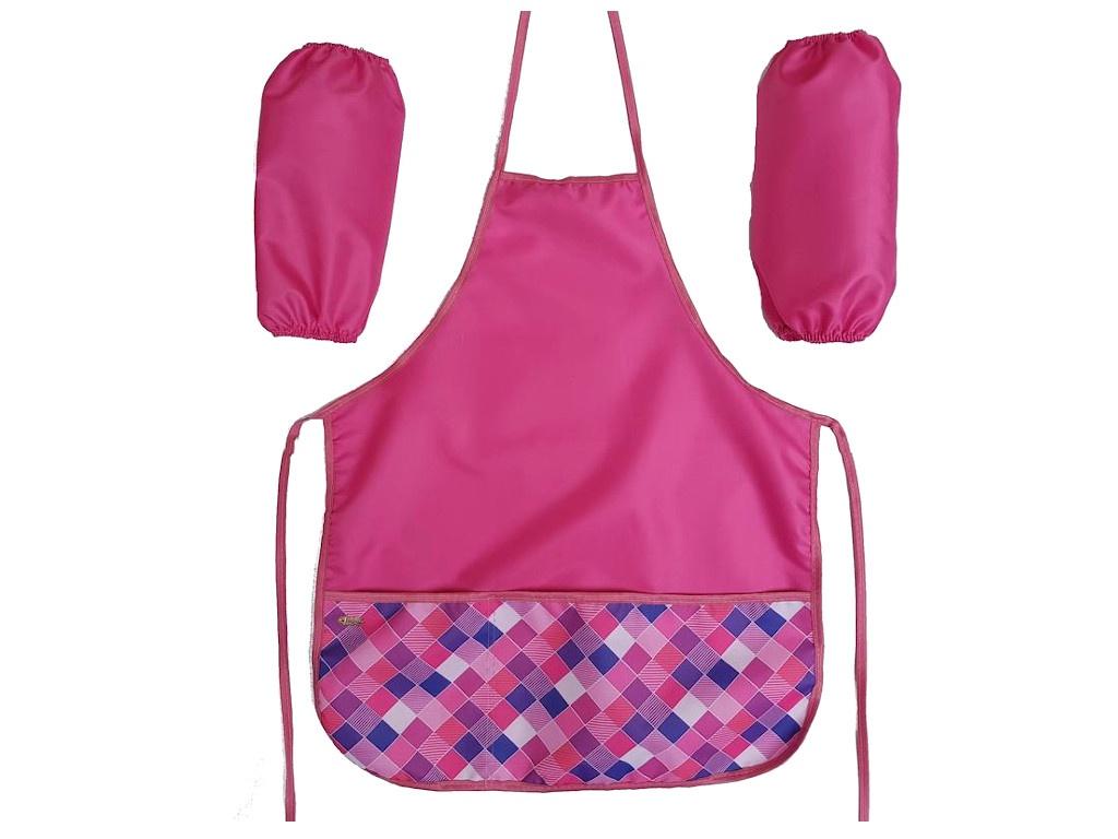 Фартук для труда №1 School Клетка 44x54cm 2 кармана Pink 1008043