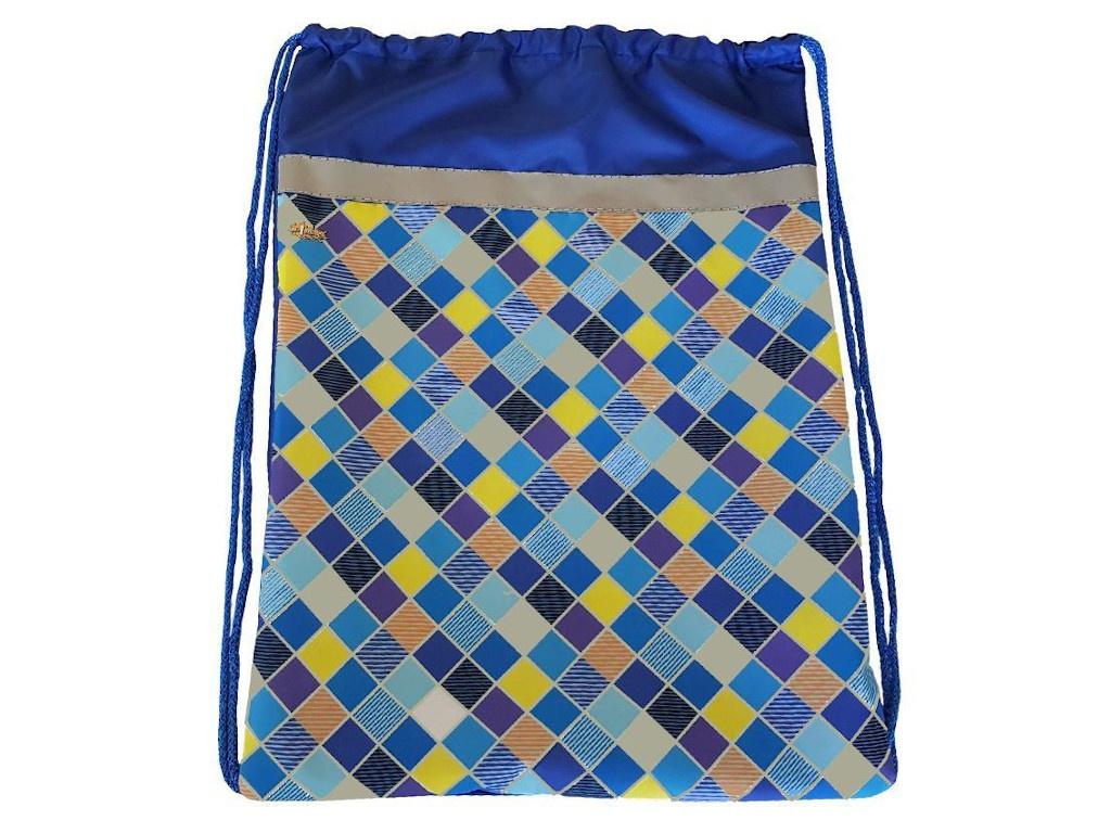 Мешок для обуви №1 School Клетка 370x470mm Blue 1017934