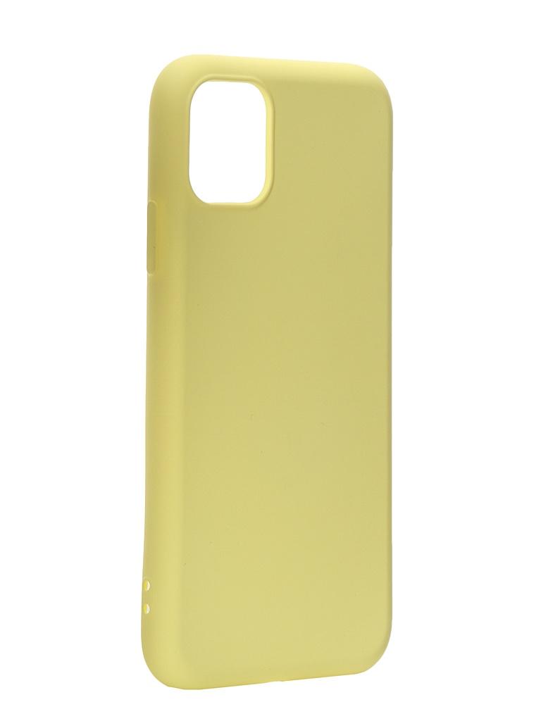 Чехол DF для APPLE iPhone 11 с микрофиброй Silicone Yellow iOriginal-01