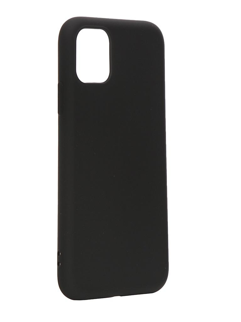 Чехол с микрофиброй DF для APPLE iPhone 11 Silicone Black iOriginal-01