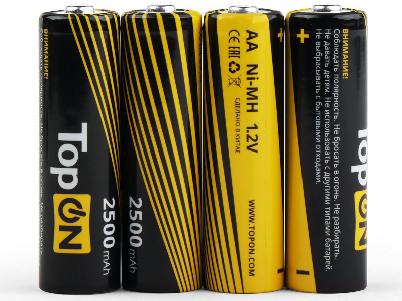 Аккумулятор AA - TopON 2500mAh 1.2V Ni-MH HR6 (4 штуки) TOP-NH-AA-2500-4B