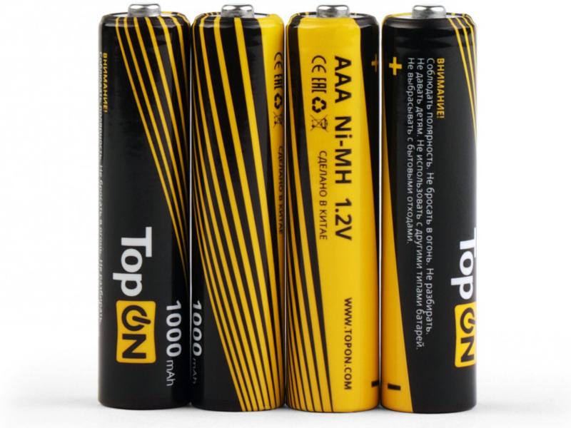Аккумулятор AAA - TopON 1000mAh 1.2V Ni-MH HR03 (4 штуки) TOP-NH-AAA-1000-4B