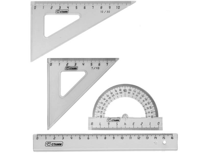Набор чертежный малый СТАММ НГ12 16cm Transparent