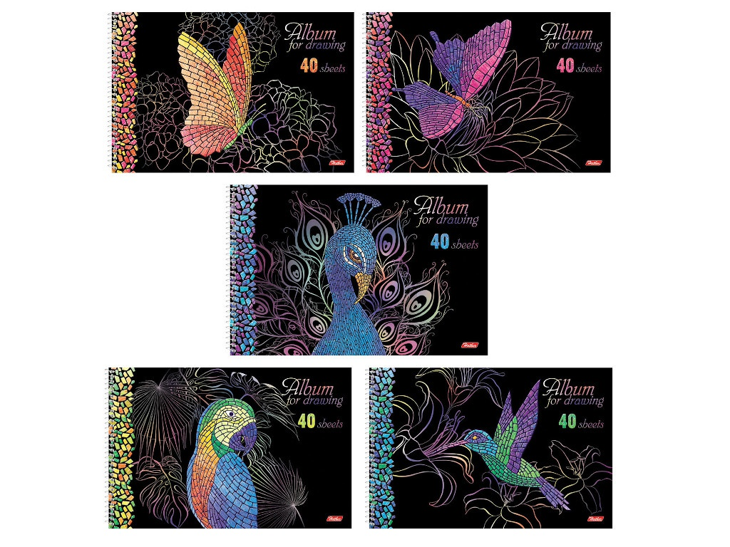 Альбом для рисования Hatber Мозаика А4 40 листов 40А4лофлВсп альбом для рисования а4 40 листов спираль 3d фольга и 3d лак hatber 205х300 мм мозаика 5 видов 40а4лофлвсп