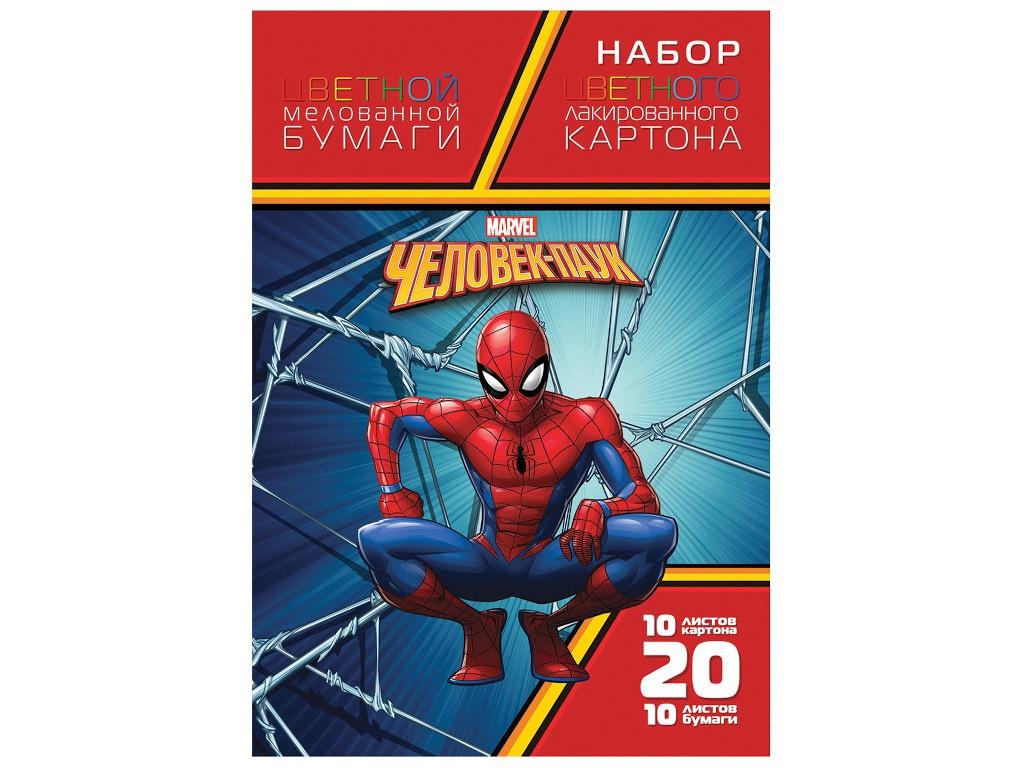 Набор картона и бумаги Hatber А4 Человек-паук 20НКБ4_20293