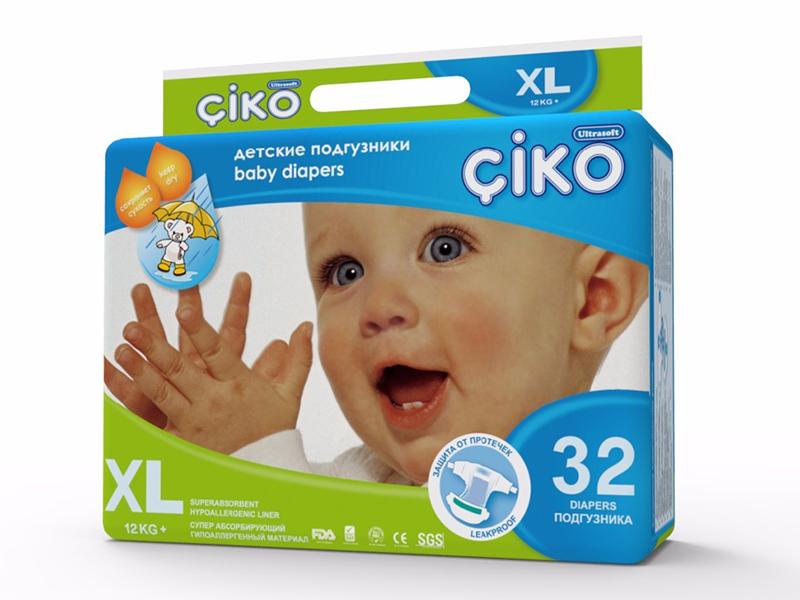 Подгузники Ciko XL (12+ кг) 32 шт