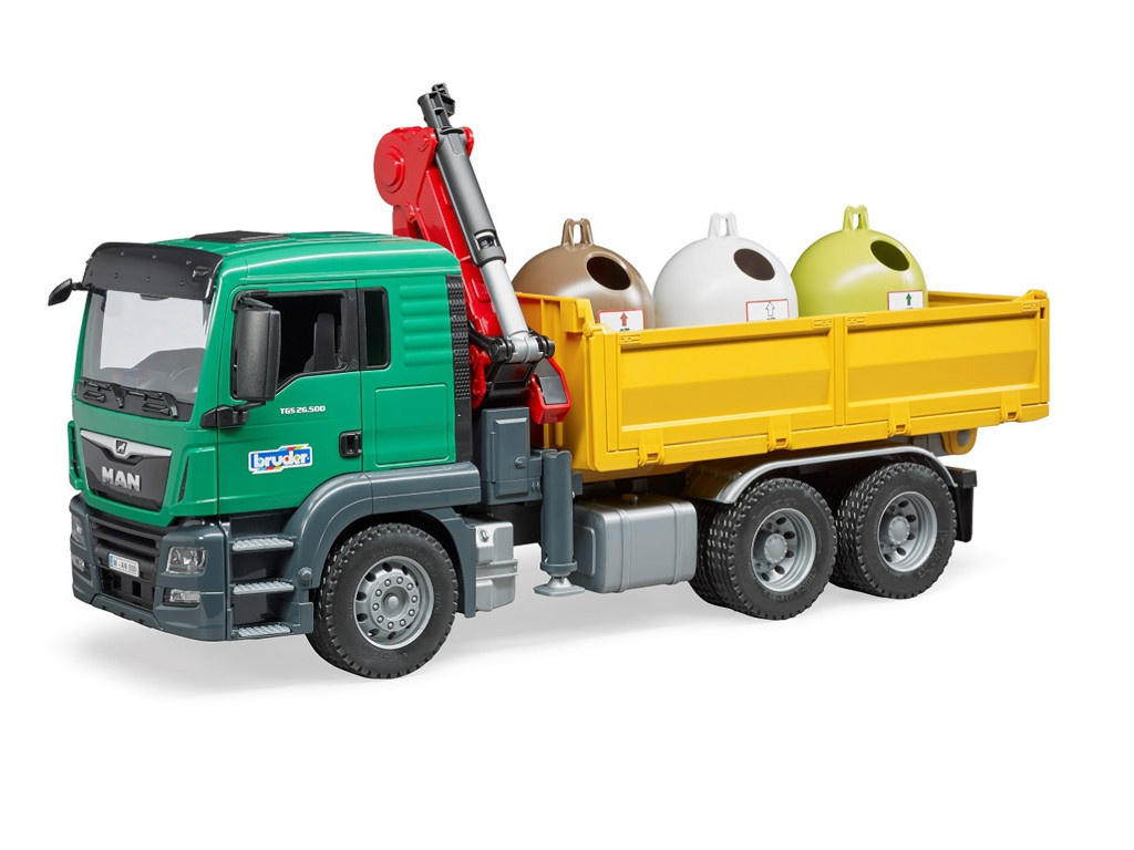 Игрушка Bruder Man Самосвал c 3 мусорными контейнерами 03-753 цена