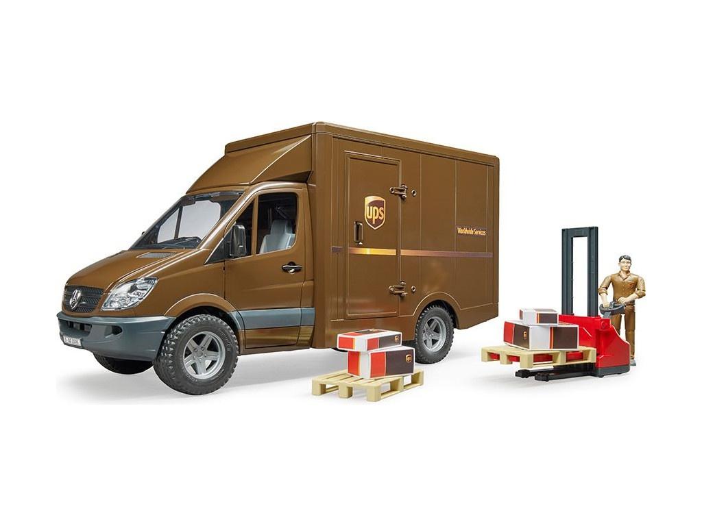 Игрушка Bruder Mercedes-Benz Sprinter Фургон UPS с фигуркой, погрузчиком и аксессуарами 02-538