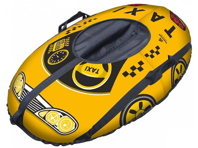 Тюбинг Тяни-толкай Машинка Taxi Snow Yellow + автокамера