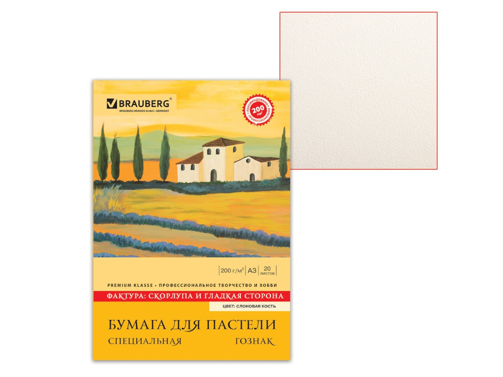 Папка для акварели Brauberg Скорлупа А3 20 листов 126304 brauberg папка для черчения 20 листов формат а3
