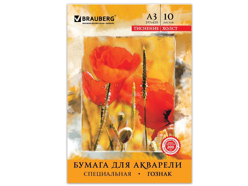 Бумага для акварели Brauberg А3 10 листов 125222