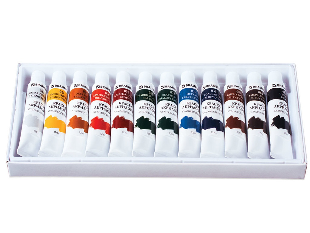 Краски акриловые Brauberg 12 цветов 191125