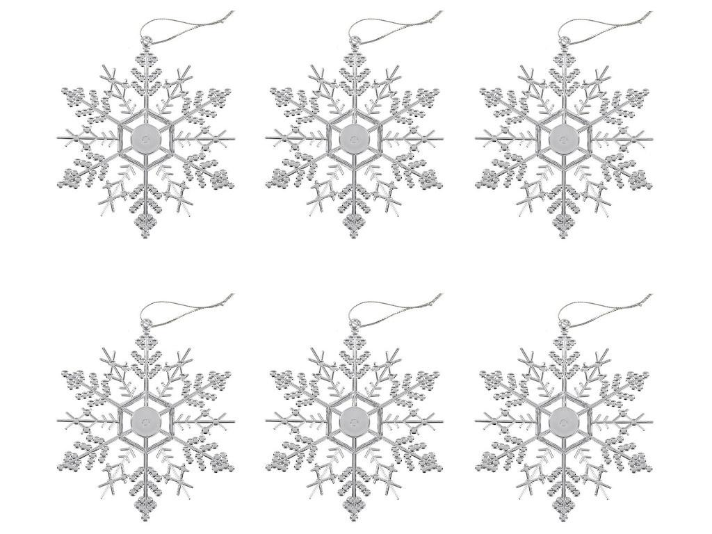 Украшение Золотая сказка Снежинка-паутинка 12cm 6шт Silver 591133