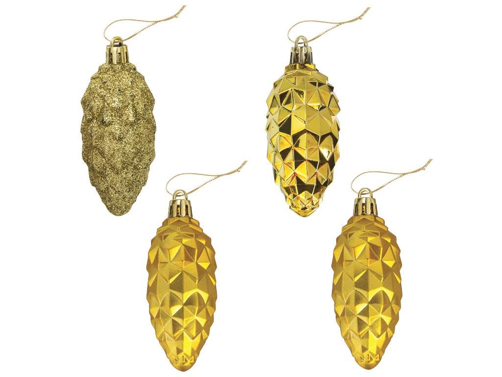 Елочная игрушка Золотая сказка Шишки 9cm 4шт Gold 590898