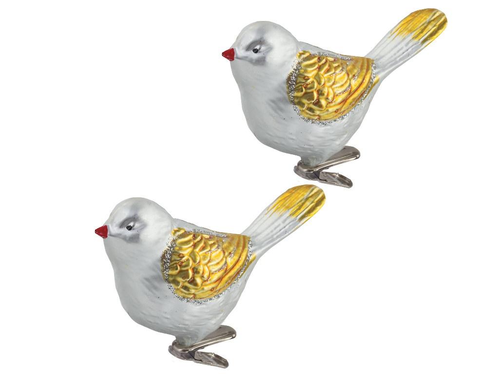 Елочная игрушка Золотая сказка Птичка 11cm 2шт Silver-Gold 590895