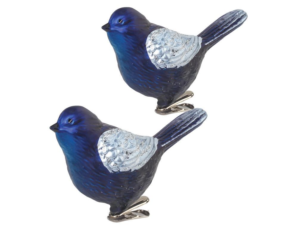 Золотая сказка Птичка 11cm 2шт Blue-Silver 590894