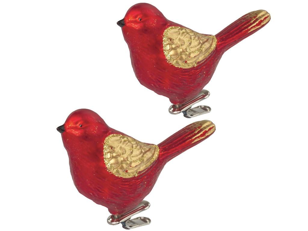 Украшение Золотая сказка Птичка 11cm 2шт Red-Gold 590893
