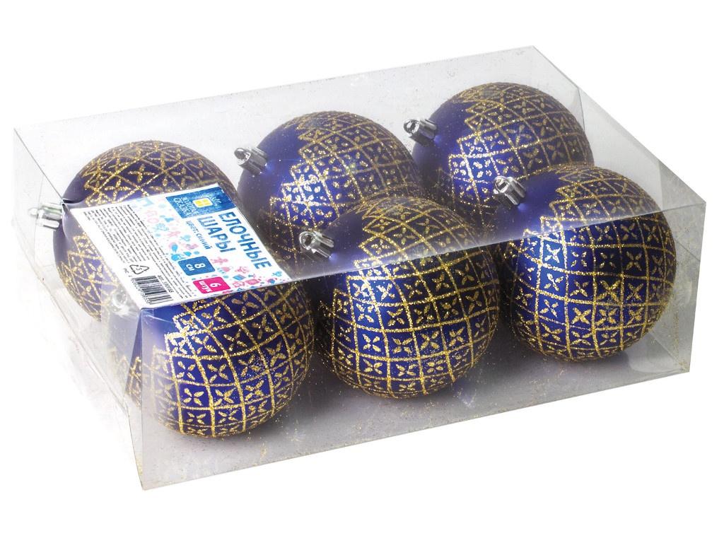 Набор шаров Золотая сказка 8cm 6шт Blue-Gold 590888