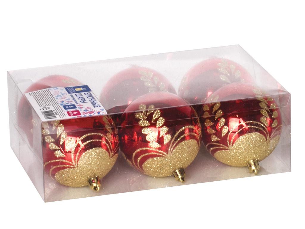 Набор шаров Золотая сказка 8cm 6шт Red-Gold 590889