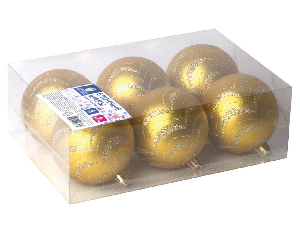 Набор шаров Золотая сказка 8cm 6шт Gold 590890