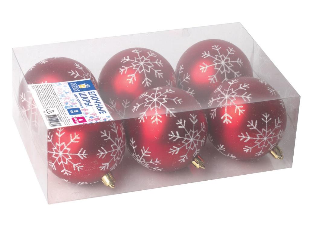 Набор шаров Золотая сказка 8cm 6шт Red-White 590891