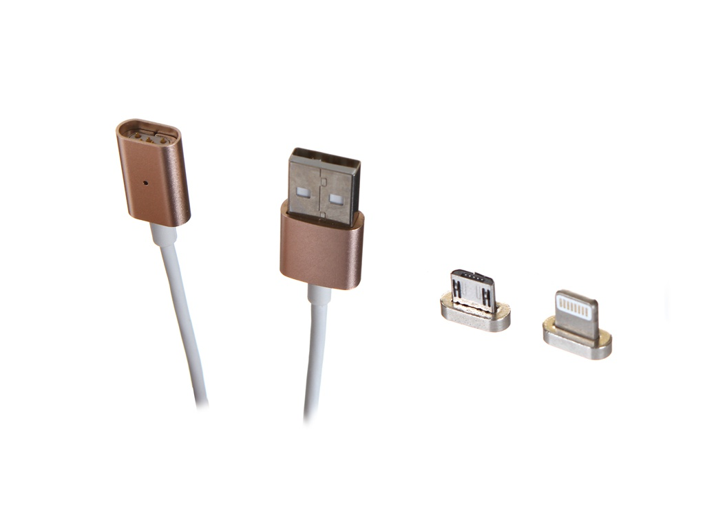 Аксессуар Gurdini U-Cable Lightning - Micro-USB Magnetic 2 в 1 Rose Gold 903725