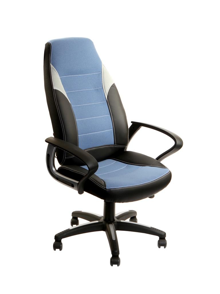 Компьютерное кресло TetChair Inter искусственная кожа, ткань Black-Blue-Grey 12018