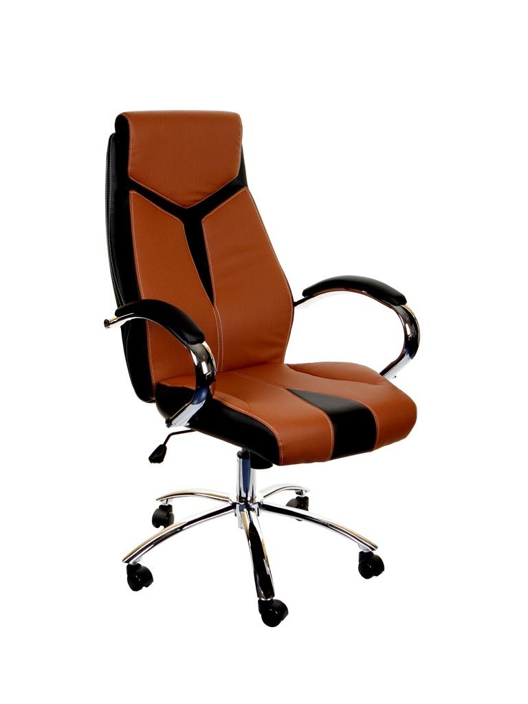Компьютерное кресло TetChair Gloss искусственная кожа, хром Brown-Black 12765