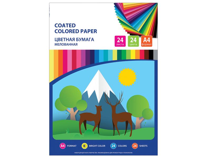 Цветная бумага Brauberg А4 24 листа цвета Мелованная 111329