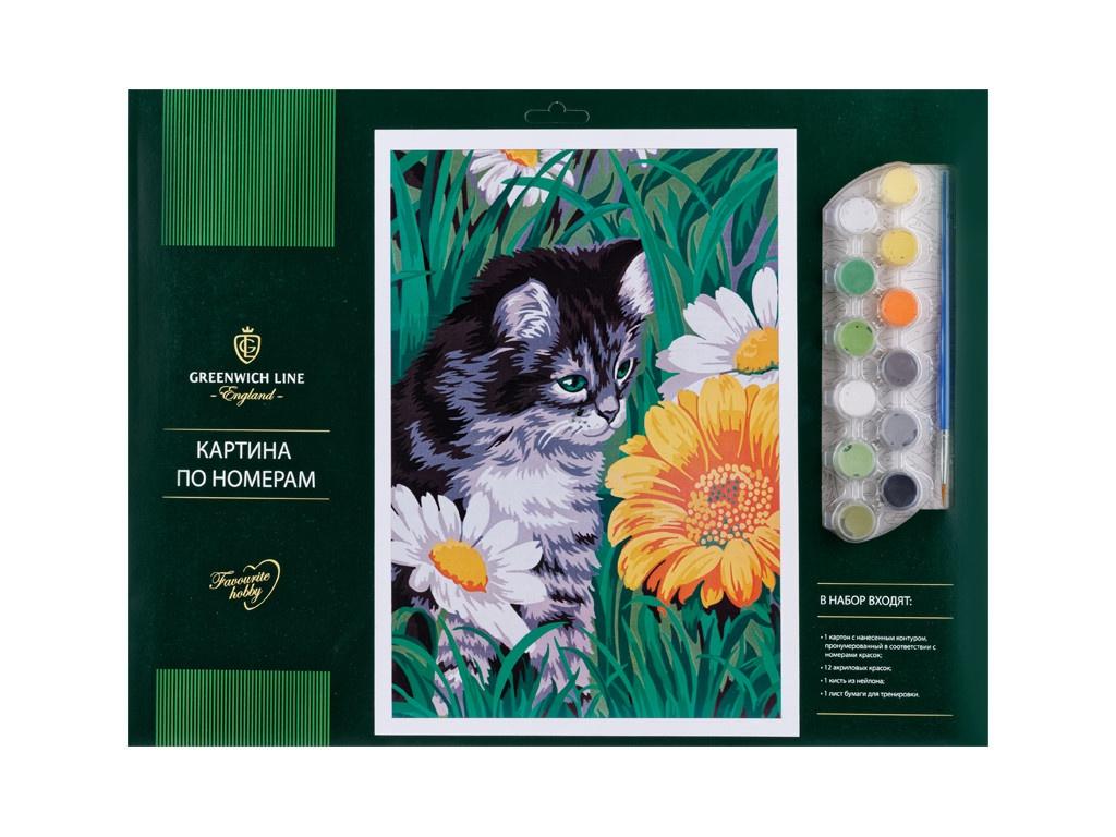 Картина по номерам Greenwich Line Котик в цветах A3 КК_27761