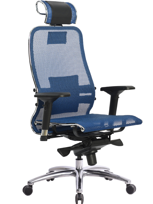 Компьютерное кресло Метта Samurai S-3.03 Blue с 3D подголовником