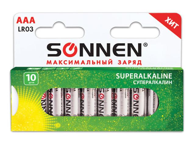 Батарейка AAA - Sonnen Super Alkaline LR03 24А (10 штук) 454232