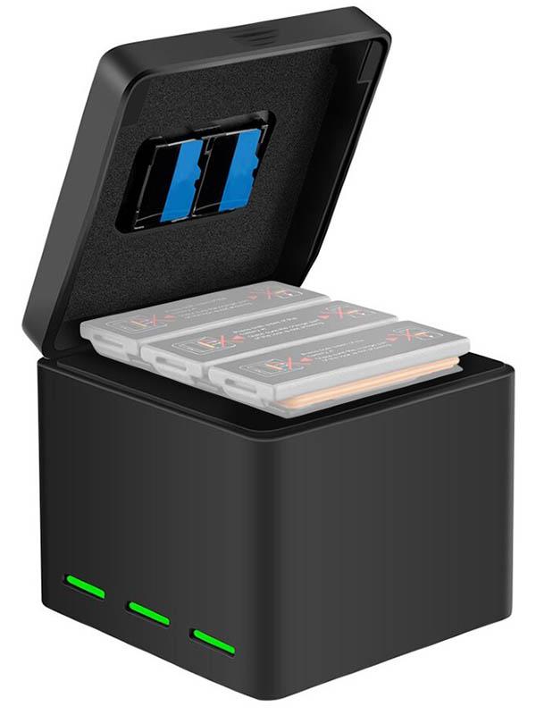 Аксессуар Telesin OS-BCG-003 для 3 аккумуляторов с крышкой Osmo Action - зарядное устройство