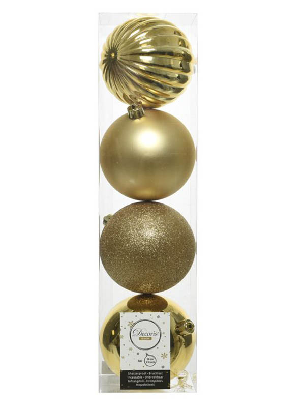 Kaemingk Набор шаров Новогодняя Гармония 10cm 4шт Gold 021010