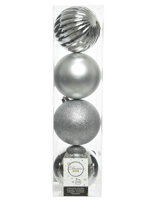 Набор шаров Kaemingk Новогодняя Гармония 10cm 4шт Silver 21011