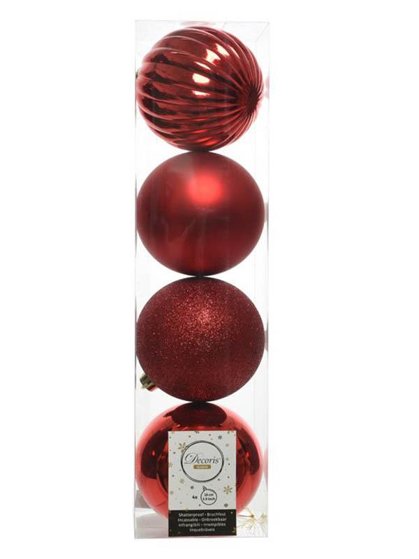 Набор шаров Kaemingk Новогодняя Гармония 10cm 4шт Red 21012