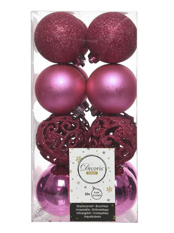 Украшение Kaemingk Набор шаров Ансамбль с Изюминкой 6cm 16шт Crimson 20895