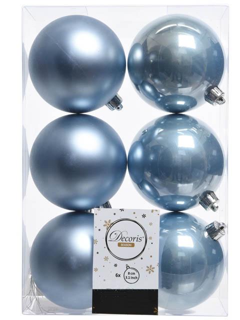 Украшение Kaemingk Набор шаров 80mm 6шт Light Blue 022035
