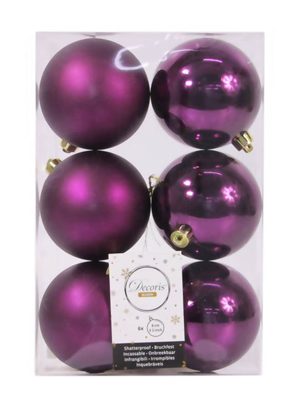 Украшение Kaemingk Набор шаров 80mm 6шт Violet 906428s