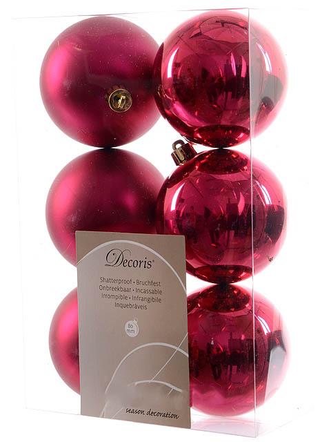 Украшение Kaemingk Набор шаров 80mm 6шт Fuchsia 958013