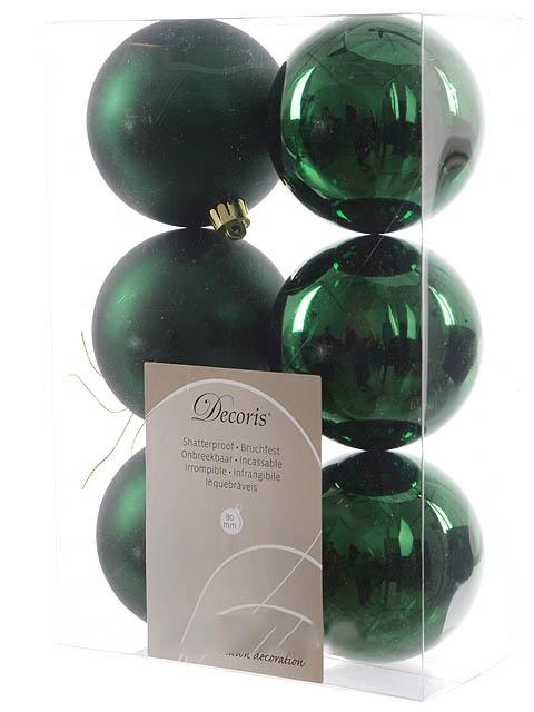 цена на Украшение Kaemingk Набор шаров 80mm 6шт Green 906430