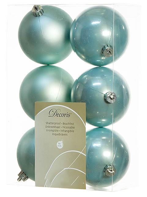 цена на Украшение Kaemingk Набор шаров 80mm 6шт Mint 958130